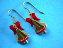 Christmas Bell Earrings Enamel Pierced