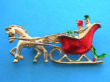 Christmas Sleigh Pin, Enameled, People,Gifts,Signed