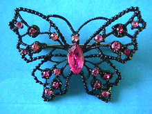 DODDS Butterfly Pin Pinks Japanned Vintage
