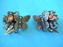Butterfly Filigree Faux Coral Earrings Vintage