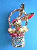 Rabbit Basket Pin Brooch Rhinestones Vintage