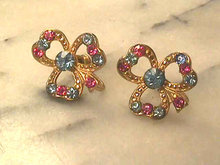 Pretty Trefoil Earrings Pastel Vintage Book Piece