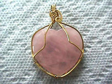 Rose Quartz Heart Pendant Artisan Wire Wrap