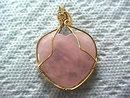 Rose Quartz Heart Pendant Artisan Wire Wrap