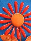 1960s Flower Pin Oranges Vintage Flower Power Enamel