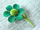 1960s Flower Pin Greens Vintage Flower Power Enamel