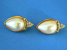 Richelieu Faux Pearl Earrings Rhinestones