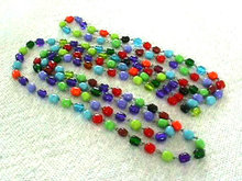 Glass Beaded Necklace Multiple Colors Vint 61 Inches