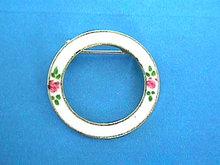 Guilloche Roses Pin Brooch Vintage