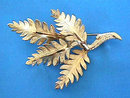 Signed Fern Pin Brooch Texture Vintage