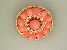 Pink Moonglow Pin Filigree Rhinestones Vintage