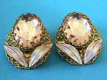 PINK Enamel Rhinestone Earrings West Germany Vintage