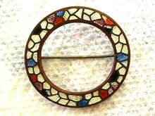 Old Guilloche Pin Mosaic Different Enamel