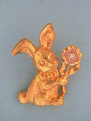 Bunny Rabbit Flower Pin Rhinestone So Cute!
