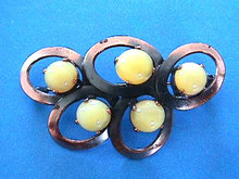 Yellow Moonglow Pin Copper West Germany Vintage