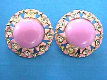 Lilac Enamel Earrings Cabochon Rhinestones Vintage