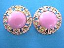 Lilac Enamel Earrings Cabochon Rhinestones Vintage