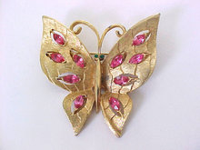 Vintage Butterfly Pin Pink Navettes JJ
