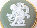 WEDGWOOD Green Cameo Pin Pendant Gold Filled Cherub