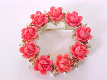 Coral Flowers Pin Salmon Vintage Roses