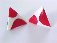 Red White MOD Earrings Triangles Vintage