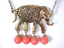 Elephant Coral (Faux) Bead Drop Necklace Vintage