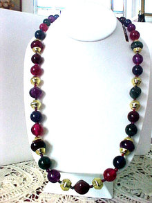 Lucite Multi Color Necklace Swirl Beads Original Tag