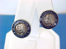 Coronation Elizabeth II Earrings Sterling Enamel