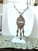 Filigree Crystal Pendant Necklace Red AB Bib Vintage
