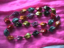 30 Inch Twisted Shaped Multi Beaded Neck with Gold Splashes