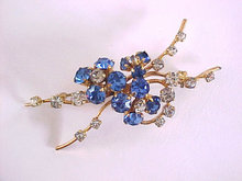 Royal Blue Crystal Rhinestones Spray Pin Vintage