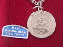 Vintage Saint Joseph Medal Necklace Sterling Pray For Us
