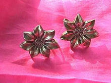 Vintage Sterling Silver Sunflower Earrings