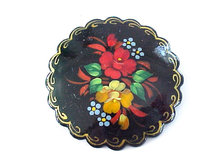 Signed Russian Lacquer Pin Scalloped Hand Painted