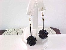 Black Sequin Earrings Drops Pierced Vintage