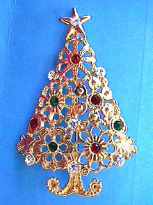 Christmas Tree Pin Multi Color Rhinestones Ornate Vintage