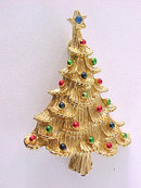 Enamel Christmas Tree Pin Multi Color Signed Vintage