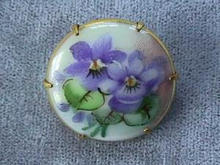 Handpainted Porcelain Brooch w/ Brass Setting