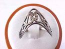 Sterling Filigree Ring Signed Vintage Boomerang