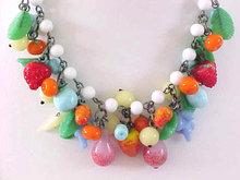 JAPAN Fruit Necklace Glass Loaded Vintage