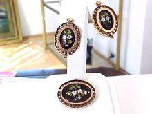Victorian Enamel Set Guilloche Pin Pendant Earrings Demi