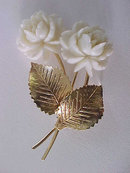 Faux Ivory Flowers Pin Signed Vintage