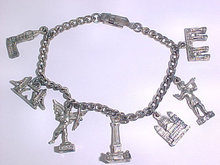 Tourist Charm Bracelet 7 Charms Vintage