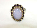 Dragon's Breath Jelly Opal Ring Prong Set Purple Rhinestones