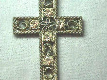 Unique Cross w/filigree, crystals and chain