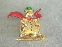 Gerry's G/T Snowman on Skis Brooch - NICE!