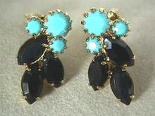Persian Blue Turquoise and Black Earrings