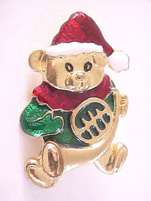 Christmas Teddy Bear Pin Red Green Enamels Vintage