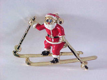 Santa Claus Skis Pin Signed Vintage Enamel