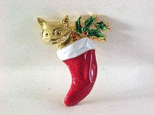 Christmas Cat Stocking Pin Kitten Enamel Holly